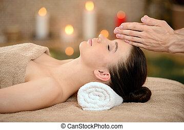 Massage - Portrait of Fresh and Beautiful brunette woman...