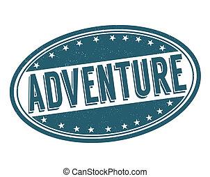 Adventure stamp - Adventure grunge rubber stamp on white,...