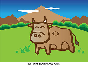 Vector cow in field - Vector illustration of cow in the...