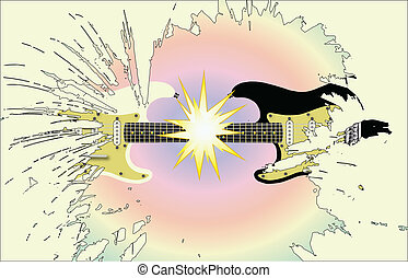 Rock Gig Background - Two guitars exploding against a...