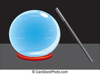 Crystal ball and magic wand - Vector illustration of magical...
