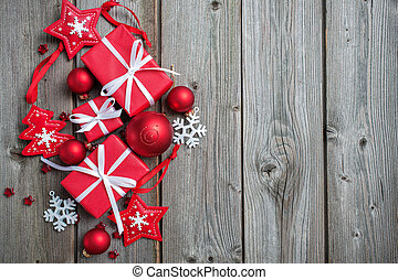 Christmas background - Gift boxes and snowflakes on wooden...