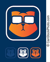 Cat Geek Icon - Orange cat wearing glasses icon
