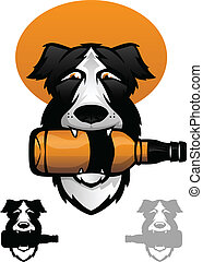Whiskey Dog - Border Collie with a whiskey bottle in his...