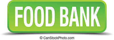 food bank green 3d realistic square isolated button