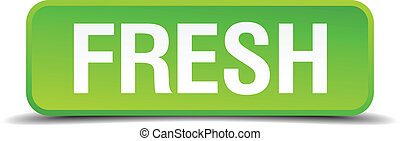 Fresh green 3d realistic square isolated button