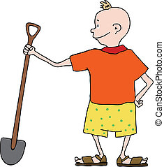 boy in shorts with shovel, vector