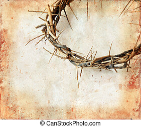 Crown of Thorns on Grunge Background - Crown of thorns on a...