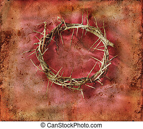 Crown of Thorns on Red Grunge Background - Crown of Thorns...