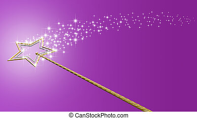 Gold And Silver Magic Wand With Sparkles - A concept showing...