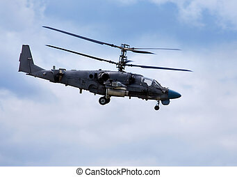 Combat helicopter in flight - Modern russian attack...