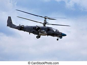 combate, helicóptero, vuelo