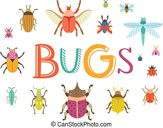 Fun colorful vector bugs collection