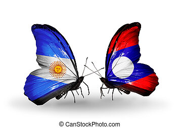 Two butterflies with flags on wings as symbol of relations Argentina and Laos