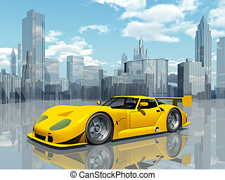 Beautiful Sports Car - Computer generated 3D illustration...