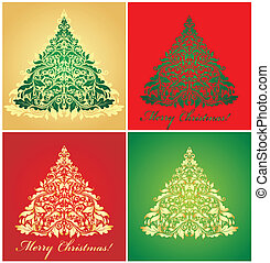 Cards with xmas trees