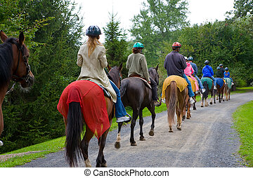 Horseback Riding Group - Group of riders on horseback