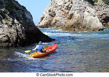 Kayaker in Dubrovnik, Croatia