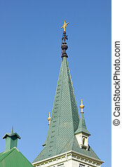Green Church Spire - Green tower of the historic Iglesia...
