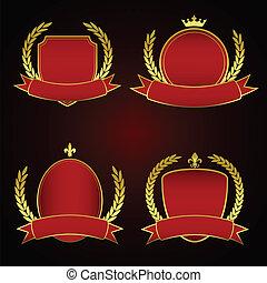 集合, 皇家, 標籤,  -, 空, 紅色