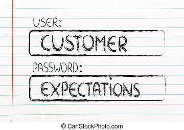 user Customer, password Expectations - user and password:...