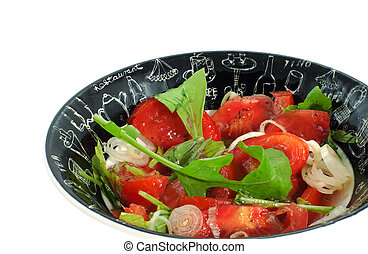 tomatoes salad in a bowl on white background