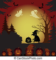 Halloween landscape, ghosts, pumpkins and witch - Halloween...