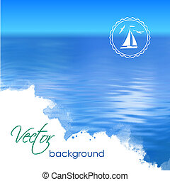 Abstract Vector Blue Water Background - Sea vector landscape...