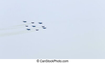 "Military Airshow - ""Diamond of Kubinka"" - aerobatics..."