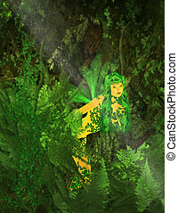 Green Fairy - Green fairy standing in the forest