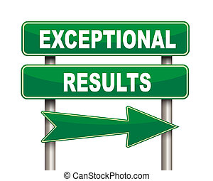 Exceptional results green road sign