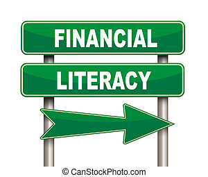 Financial literacy green road sign - Illustration of green...