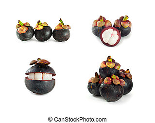 collection of Mangosteen  fruit isolated on white