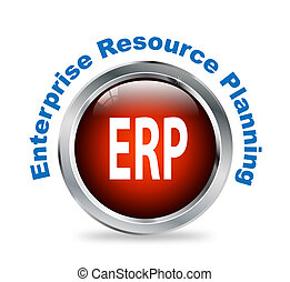 Round button of enterprise resource planning - erp -...