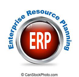 Round button of enterprise resource planning - erp -...