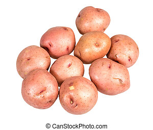 Red potatoes isolated on white