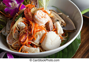 Thai Seafood Som Tum Salad - Traditional dish of freshly...