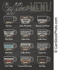 Set of coffee menu in vintage style with chalkboard , eps10...