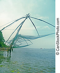 chinese fishing net cochin kochi, kerala, india