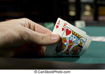 Winning hand - Holding a winning hand during poker game
