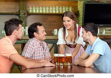 Beer Pub - Beer for gentlemen. Beautiful young waitress...