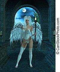 Angel Standing - Angel standing inside a masoleumn