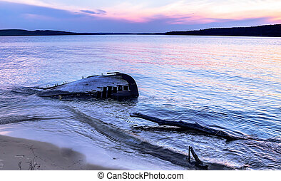 Lake Superior Shipwreck - Shipwreck along a remote Lake...