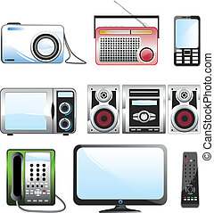 Multimedia icon set - Home appliances icon set over white...