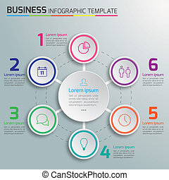 6-Step process infographics - Option infographic vector for...