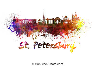 Saint Petersburg skyline in watercolor splatters with...