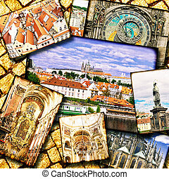Collage of beautiful Prague Czech Republic
