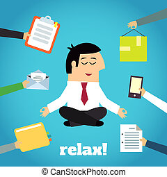 Businessman Yoga Relaxing - Businessman practicing yoga...