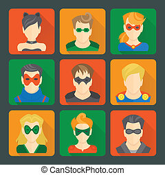 Set of superheroes stickers - Set of comic character...