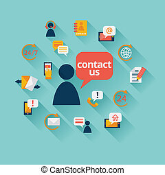 Contact us background with address call center customer...